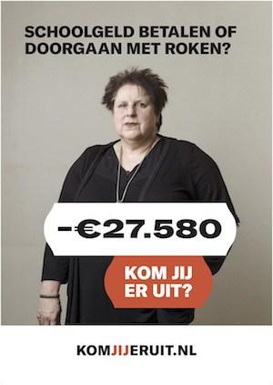 Karin op de poster van de campagne Kom uit je schuld.