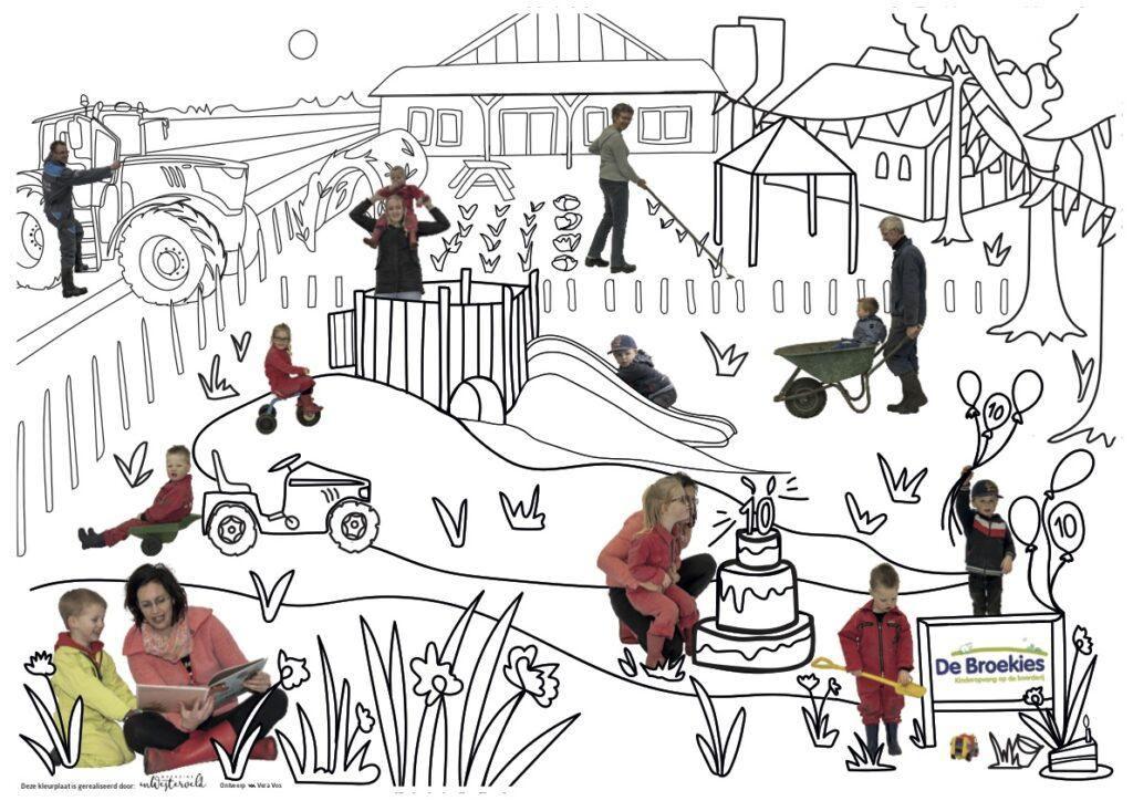 Kleurplaat De Broekies 10 jaar kinderopvang op de boerderij